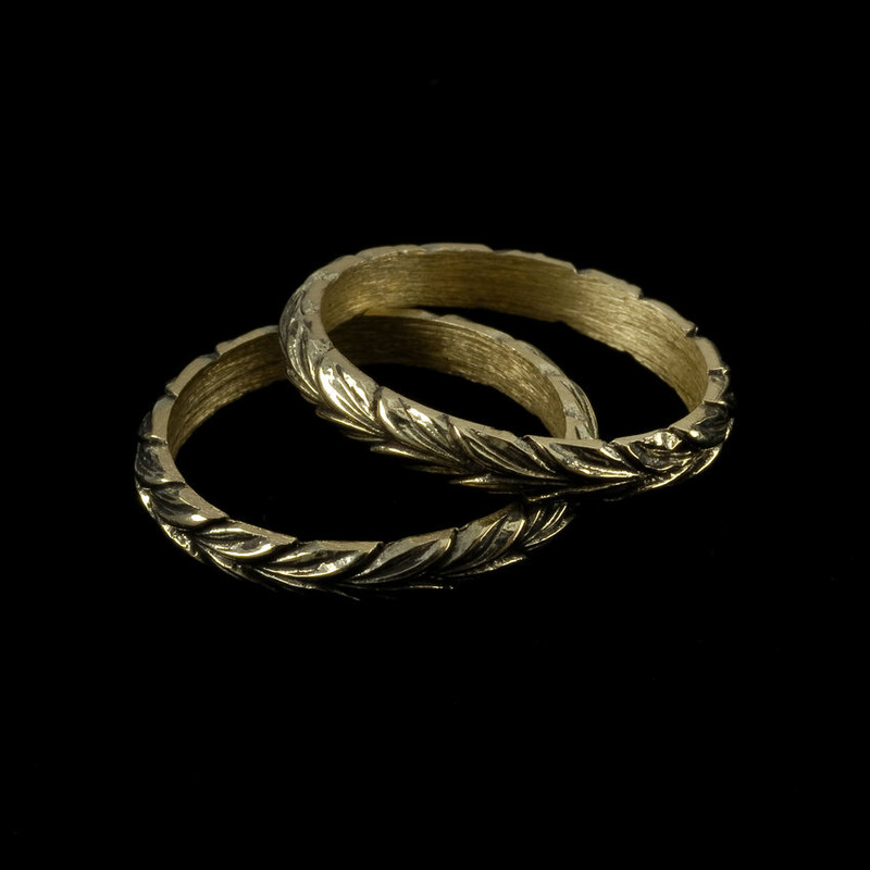 Leaf Wedding Ring Bands, Silver, handmade, engraved with antique finish by Bowman Originals, Sarasota, 941-302-9594.