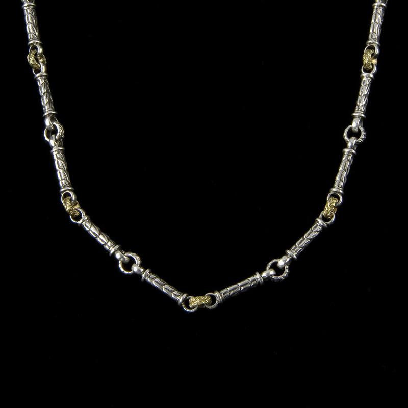 Engraved custom Harvest link chain necklace handmade in sterling silver by Bowman Originals, Sarasota, 941-302-9594