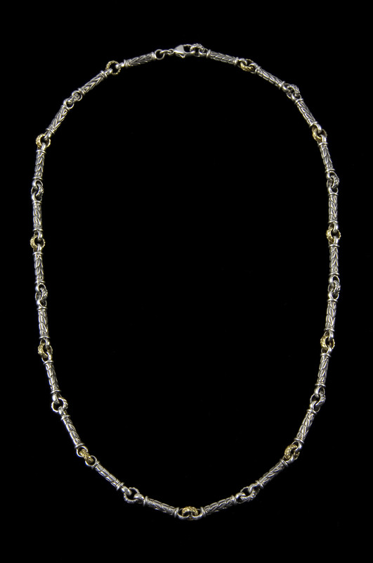 Harvest engraved link chain necklace in sterling silver by Bowman Originals, Sarasota, 941-302-9594