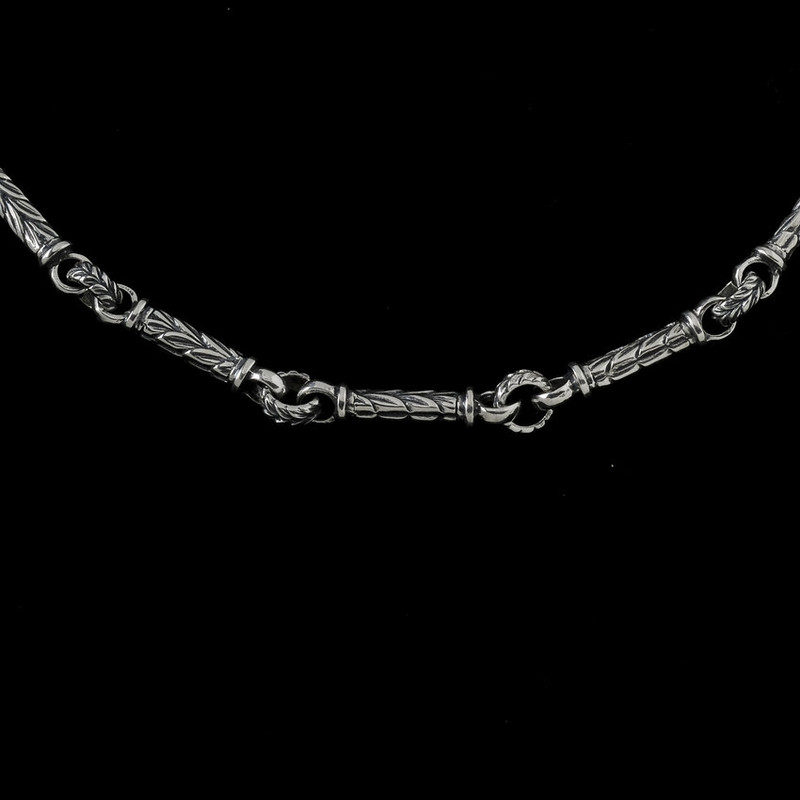 Leaf Bar Chain, silver engraved by Bowman Originals Jewelry, Sarasota, 941-302-9594