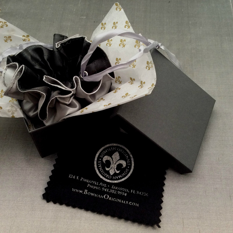 Packaging for engraved handmade Sterling Silver and 18 K Gold jewelry by Bowman Originals, Sarasota, 941-302-9594