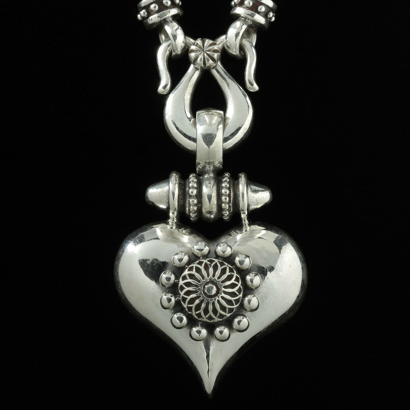 Heart Necklace Pendant handmade in Sterling Silver by Bowman Originals, Sarasota, 941-302-9594.