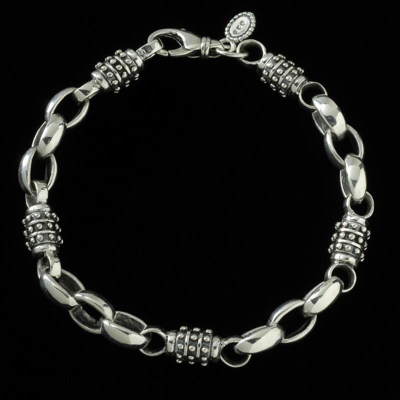 Achilles Bracelet, Sterling Silver, handmade links | Bowman Originals, Sarasota, 941-302-9594