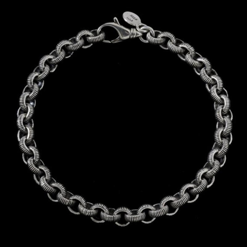 Serrated Bracelet, Sterling Silver, handmade, engraved | Bowman Originals, USA