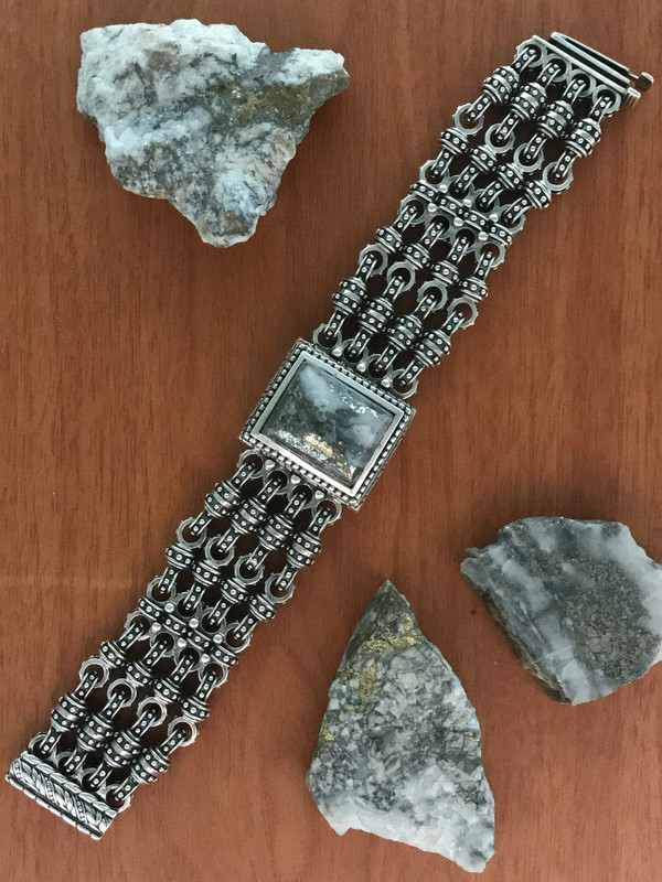 Handmade Silver Bracelet with Silver Ore   Bowman Originals