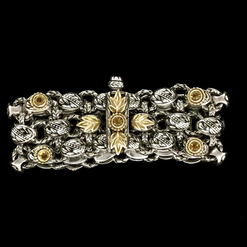 Clasp on Laurel Leaf Bracelet handmade by Bowman Originals in Sterling Silver, 18 k Gold, Citrine, Black Enamel. Sarasota, Florida. 941-302-9594