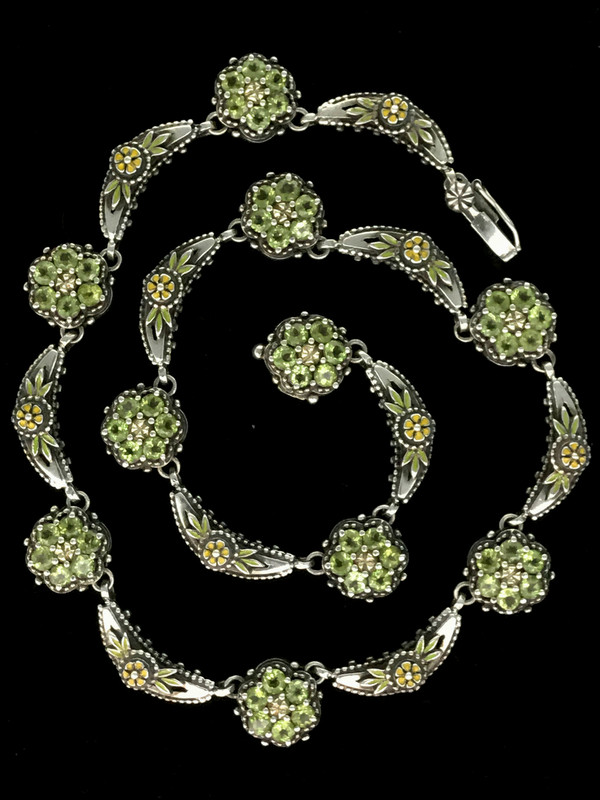 Peridot Cluster Necklace handmade in Sterling Silver, 18 K  Gold and Enamel  by Bowman Originals, Sarasota, 941-302-9594