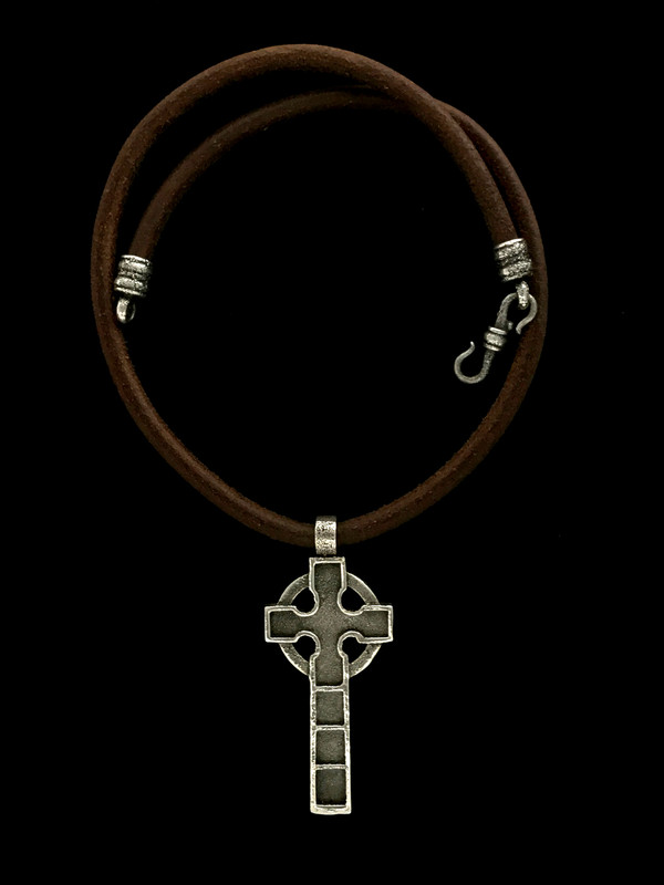 Celtic Cross Necklace in Silver and Leather by Bowman Originals, USA