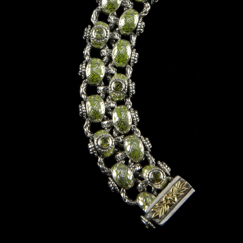 Laurel Leaf Bracelet, Two Row, Sterling Silver, 18 k Gold, Vitreous Enamel and Peridot handmade by Bowman Originals, Sarasota, 941-302-9594.
