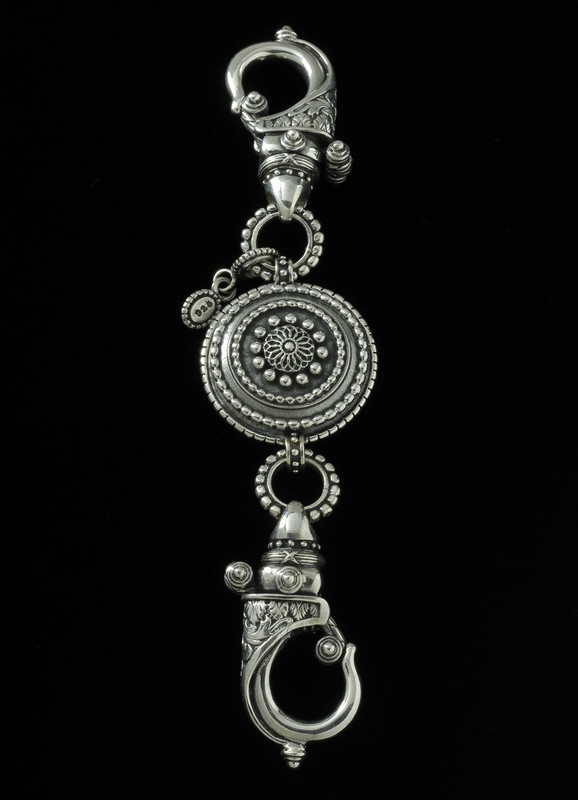 Key Chain handmade in Silver with Sundial medallion by Bowman Originals, USA
