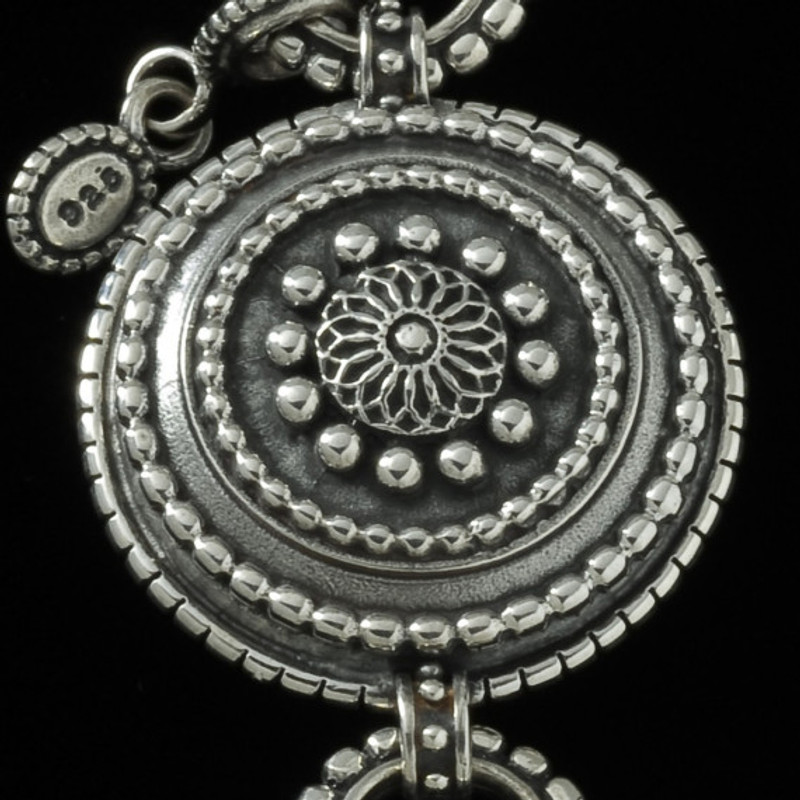 Key Chain beaded Silver sundial medallion by Bowman Originals, USA