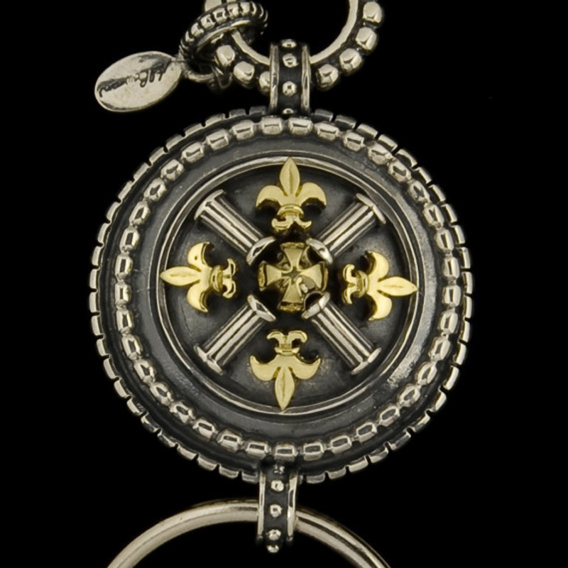 Key Chain fleur de lis medallion in Silver and 18 k Gold by Bowman Originals, USA