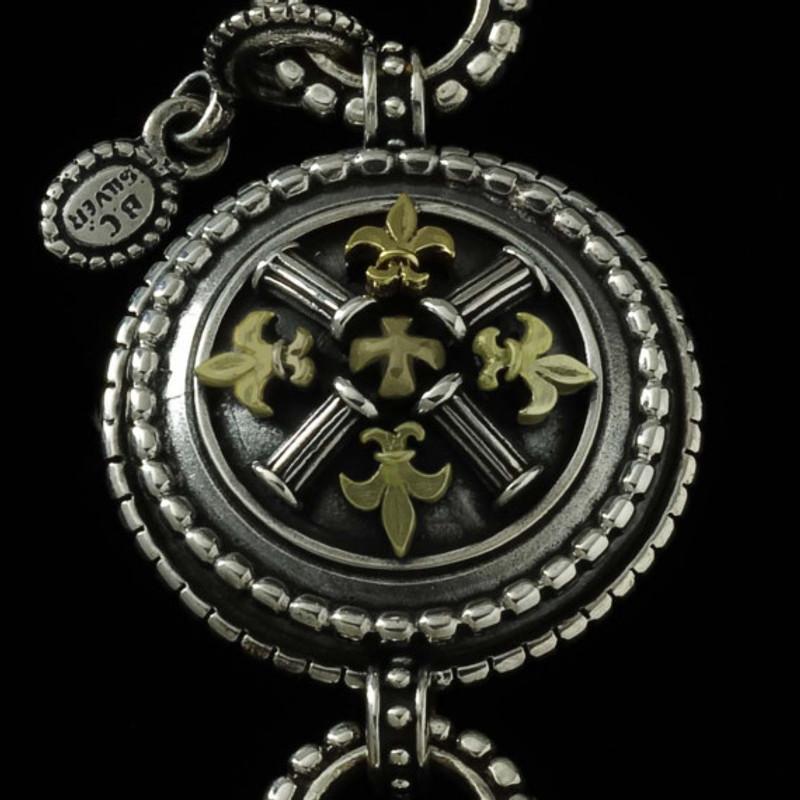 Key Chain center medallion with gold fleur de lis by Bowman Originals, USA