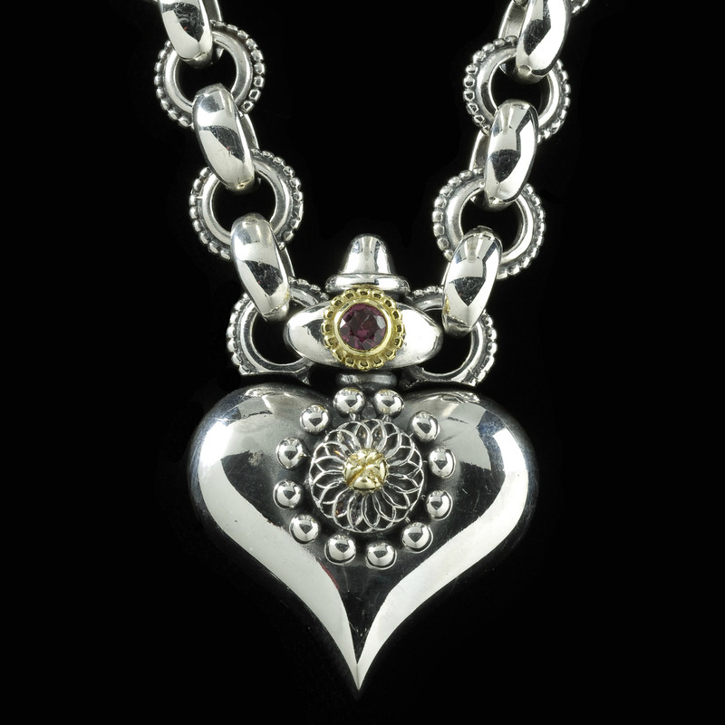 Details of Heart Necklace handmade by Bowman Originals, Silver, Gold, Almandine Garnet. Sarasota, 941-302-9594.
