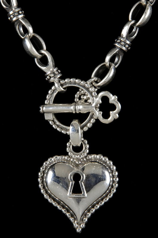 Handmade Key to my Heart Necklace, Sterling Silver by Bowman Originals, Sarasota, 941-302-9594.