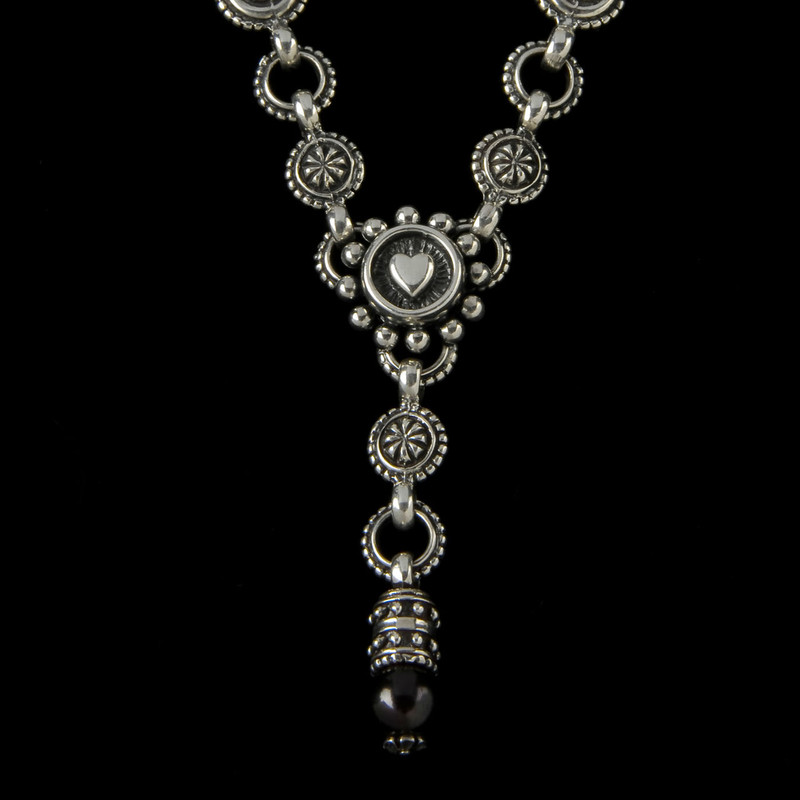 """Heart """"Y"""" Necklace with Pearl in Sterling Silver handmade by Bowman Originals, Sarasota, 941-302-9594."""