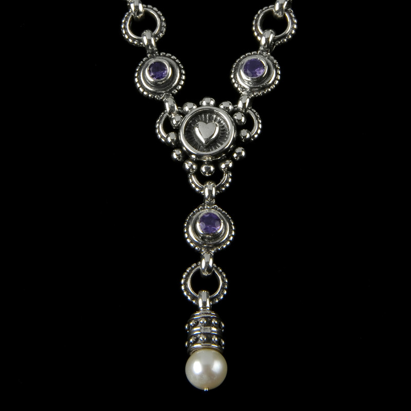 """Amethyst, Pearl and Sterling Silver handmade Heart """"Y"""" Necklace by Bowman Originals, Sarasota, 941-302-9594."""