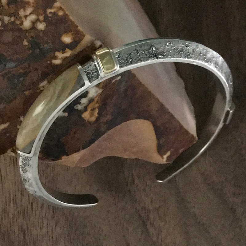 Silver Cuff Bracelet with Onyx, Tiger Eye and 18 k Gold by Bowman Originals.