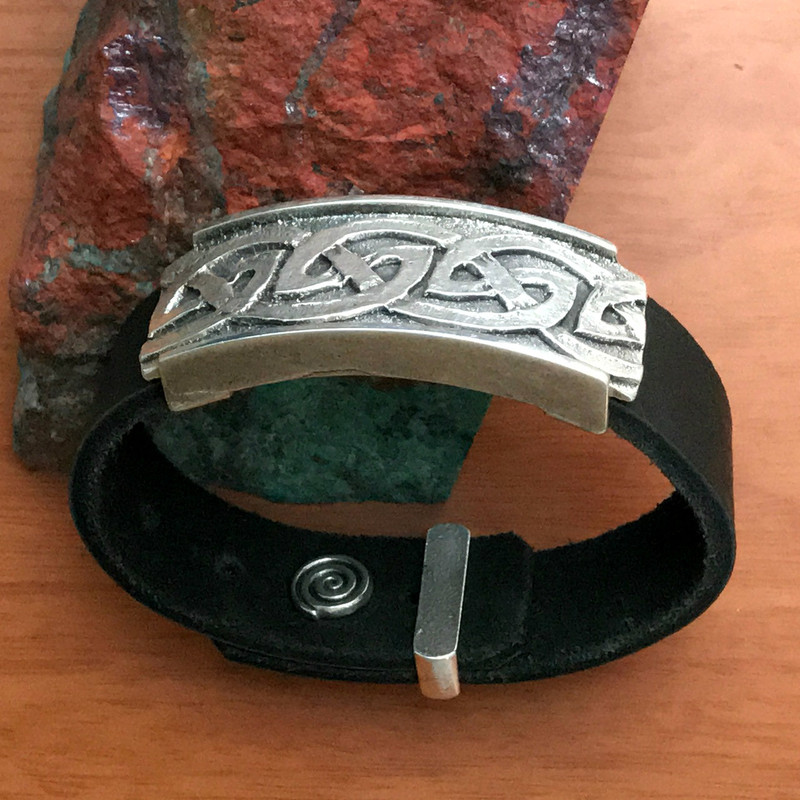 Celtic Wave Silver, Leather adjustable bracelet | Bowman Originals