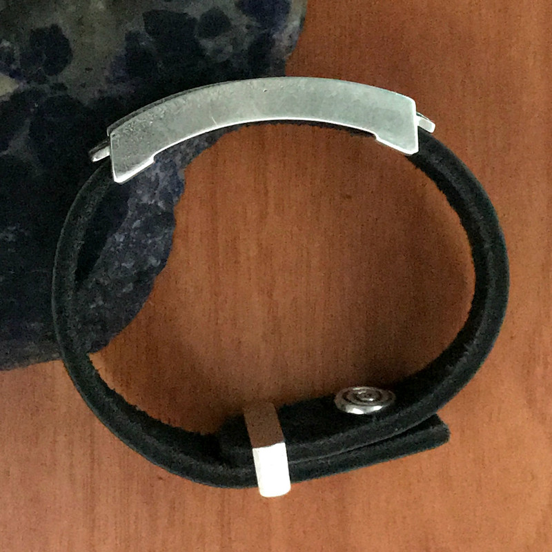 Organic Sterling Silver Slide Bracelet, push pin clasp & keeper   Bowman Originals