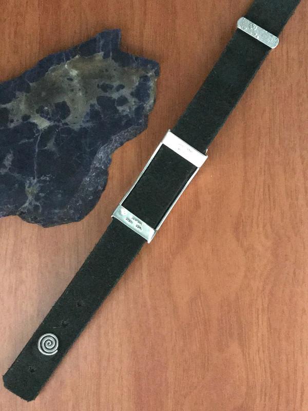 Sterling Silver Slide Bracelet underside on soft Bison Leather by Bowman Originals