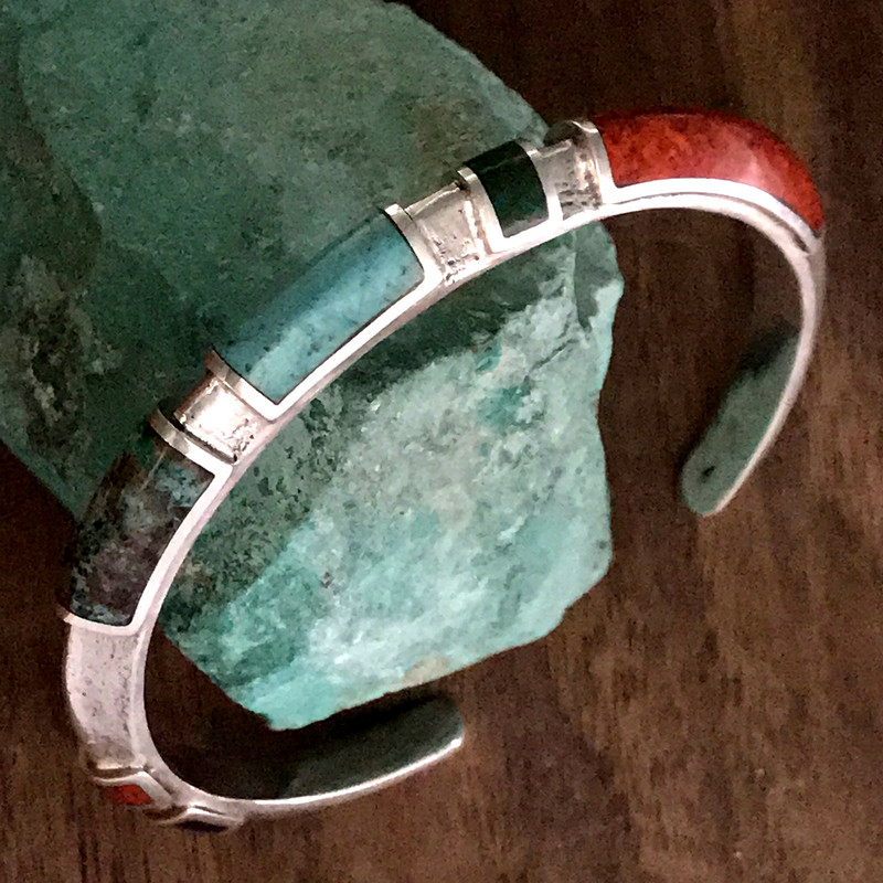 Cuff Bracelet in Sterling Silver featuring Chrysocolla and Lapis by Bowman Originals. 941-302-9594