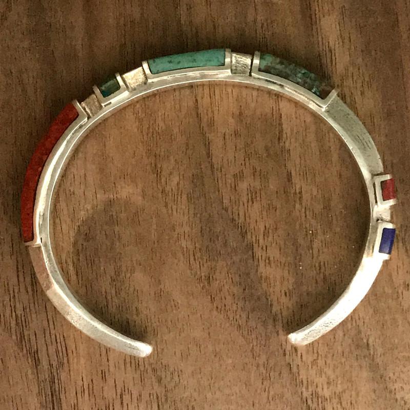 Handmade Cuff Bracelet, Sterling Silver, Chrysocolla, Lapis by Bowman Originals, Sarasota, 941-302-9594