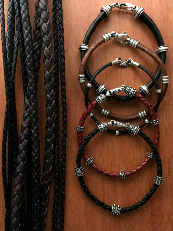 Leather and Sterling Silver Bracelets handmade by Bowman Originals, Call or text: 941-302-9594.