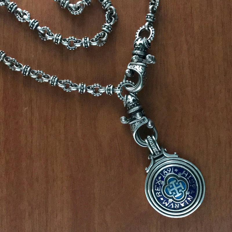 Sterling Silver and Enamel Necklace, pendant and chain by Bowman Originals, Sarasota, 941-302-9594