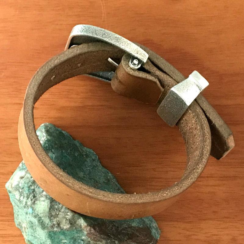 Belt Buckle Bracelet, Silver, Chrysocola, Natural Leather