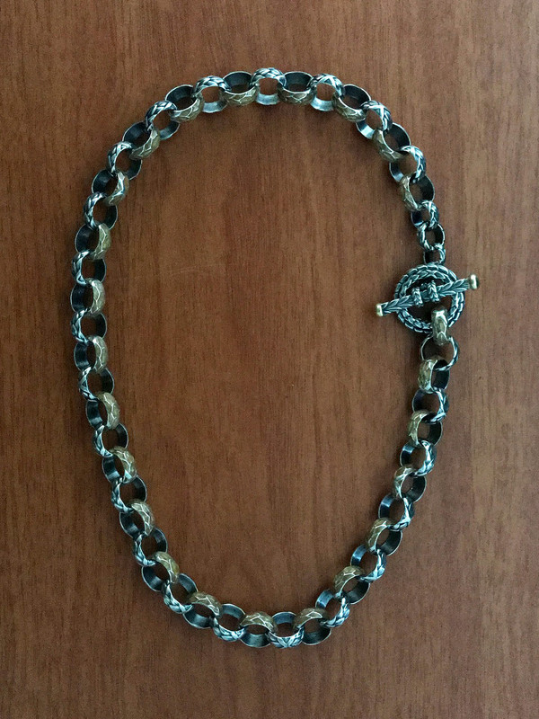 Enamel Toggle Necklace, Handmade, Silver, 18 K Gold, Vitreous Enamel by Bowman Originals, 941-302-9594.