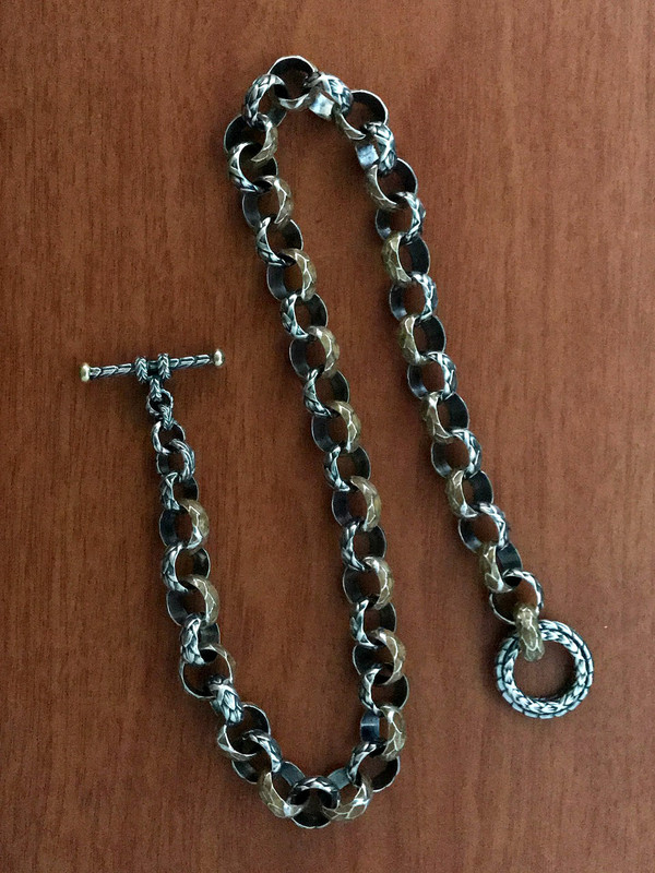 Toggle Clasp Necklace in Silver, Gold and Enamel by Bowman Originals, 941-302-9594.