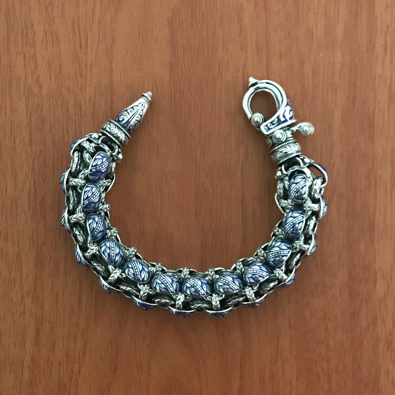 "Rolled Laurel Leaf ""Hook"" Bracelet, Silver, Enamel, handmade by Bowman Originals, Downtown Sarasota, 941-302-9594"