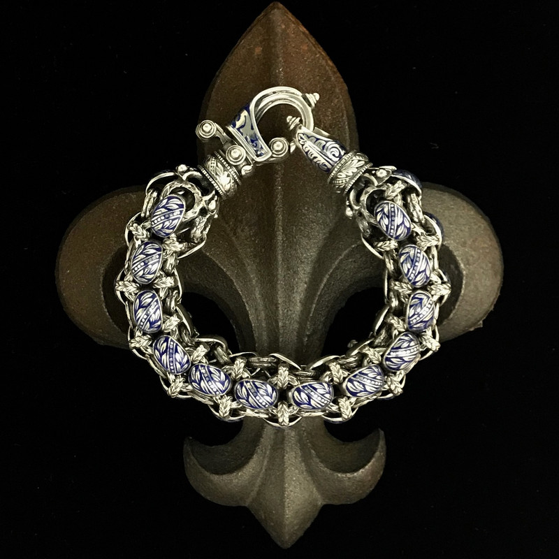 Rolled Sterling Silver and Enamel Hook Bracelet handmade by Bowman Originals, Sarasota, 941-302-9594