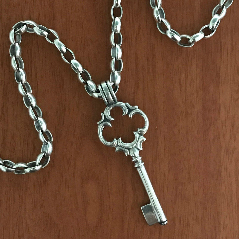 Key Necklace, removable Key Pendant measuring 3 1/2 inches, with link chain measuring 18 inches long, handmade by Bowman Originals, Sarasota, 941-302-9594