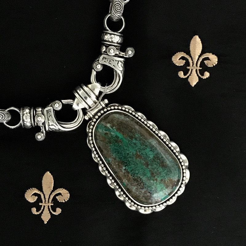 Handmade Sterling Silver Necklace featuring a detachable Chrysocolla Pendant by Bowman Originals, Downtown Sarasota, 941-302-9594