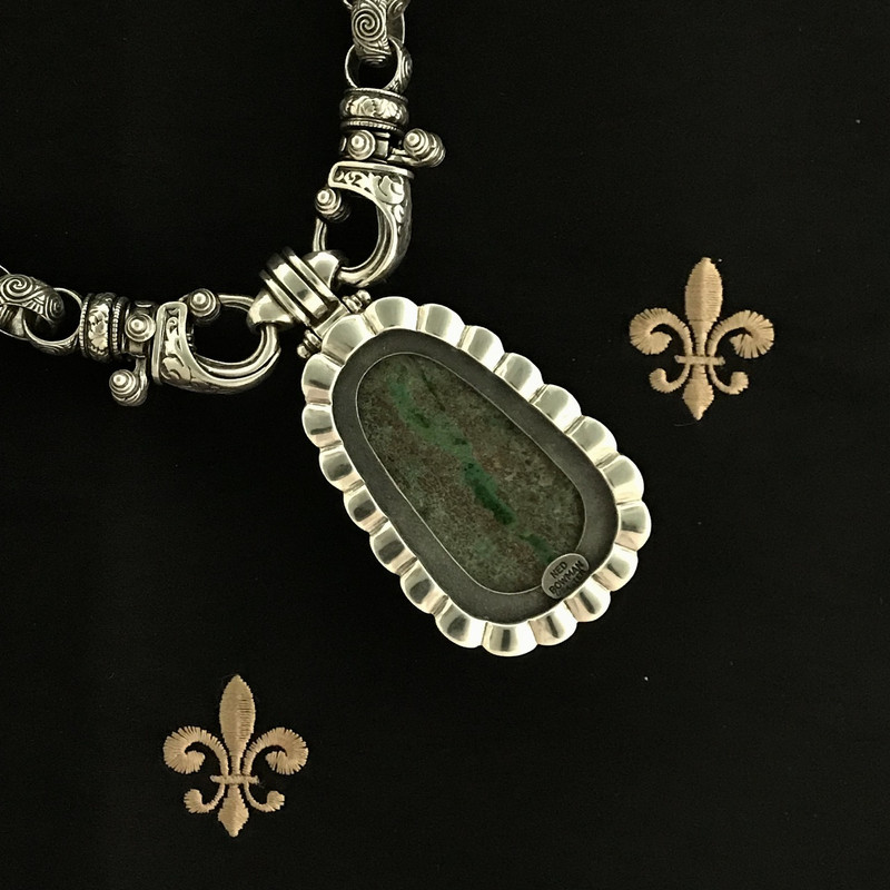 Reverse side Chrysocolla Pendant and Sterling Silver engraved handmade Necklace, Bowman Originals, Sarasota, 941-302-9594