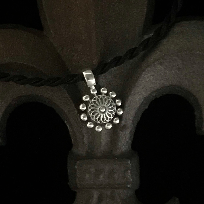 Beaded Sterling Silver Flower Pendant on Silk Cord handmade by Bowman Originals, Sarasota, 941-302-9594
