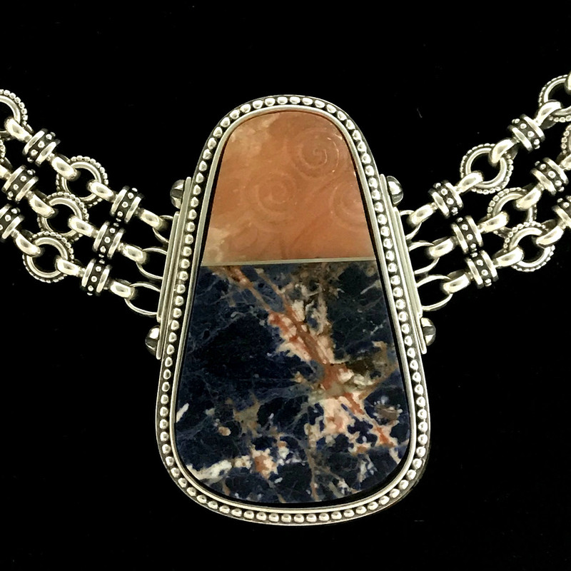 Sterling Silver Necklace, Sodalite and carved Alabaster handmade by Bowman Originals, Sarasota, 941-302-9594.