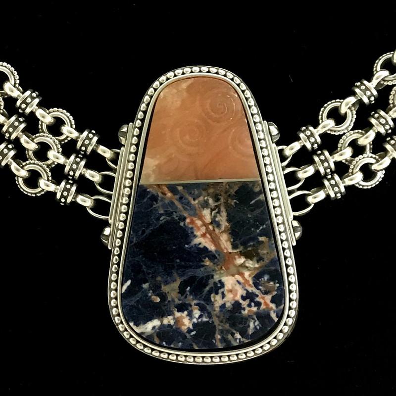 Sterling Silver Necklace, Sodalite and carved Alabaster handmade by Bowman Originals, Sarasota, 941-302-9594.