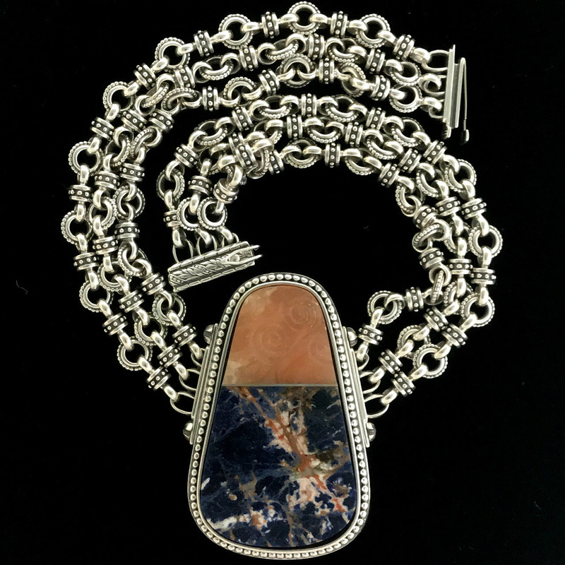 Silver, Sodalite and Celtic Scroll carved Alabaster handmade Necklace by Bowman Originals, Sarasota, 941-302-9594.