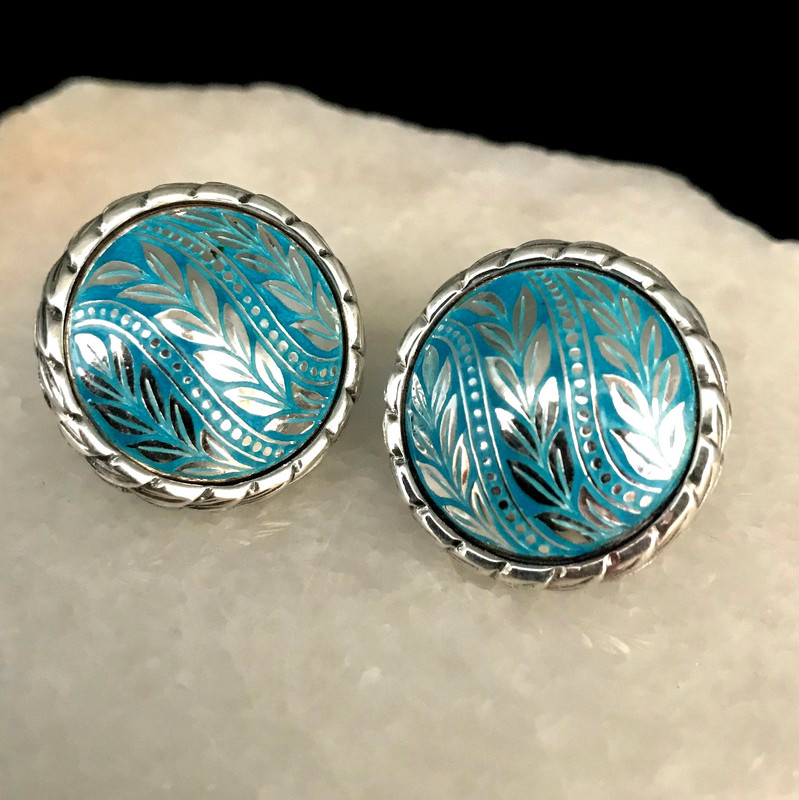 Sterling Silver, Enamel, handmade Dome Laurel Leaf Earrings by Bowman Originals, Sarasota, 941-302-9594