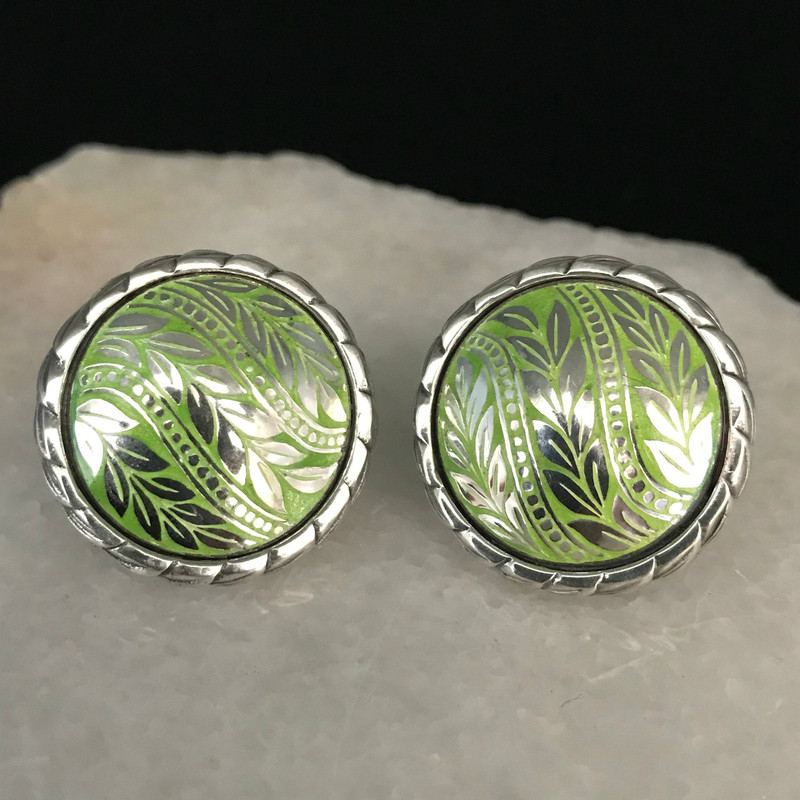 Sterling Silver and Enamel handmade Earrings by Bowman Originals, Sarasota, 941-302-9594.