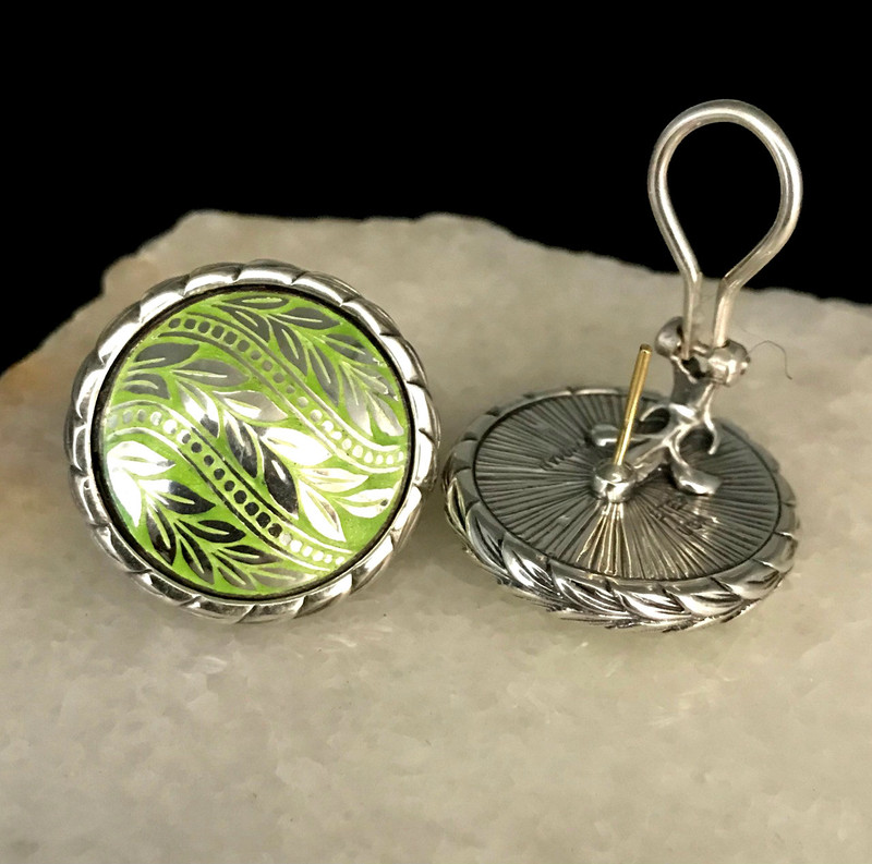 Silver and Enamel Earrings with gold posts and Omega backs handmade by Bowman Originals, Sarasota, 941-302-9594.