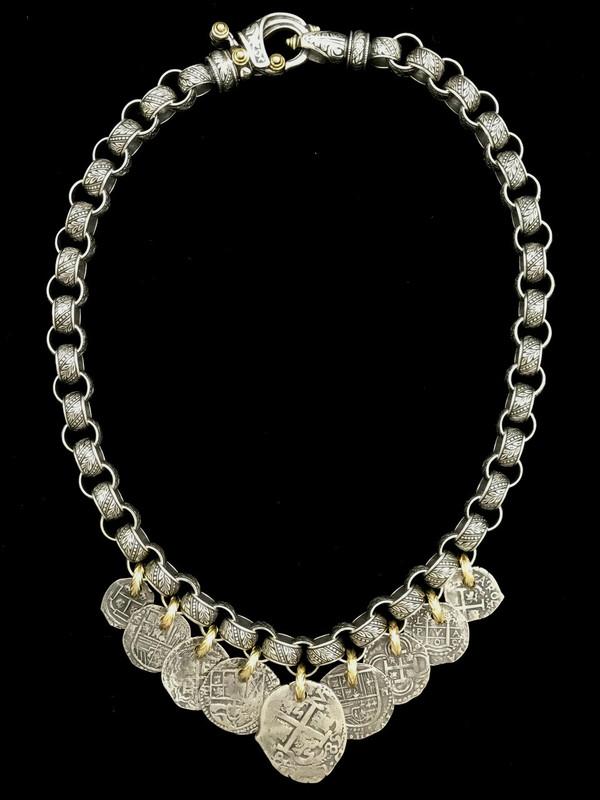 Sterling Silver and 18 k Gold link Medallion Necklace handmade by Bowman Originals, Sarasota, 941-302-9594.
