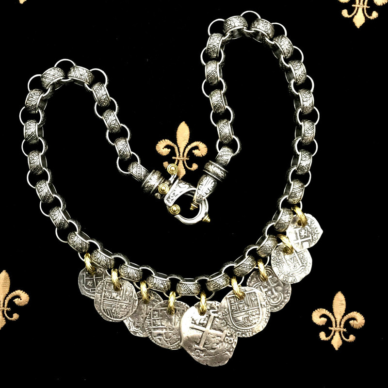 Medallion Necklace handmade in Sterling Silver, 18 k Gold by Bowman Originals, Sarasota, 941-302-9594.