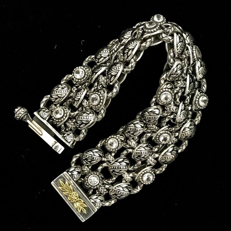 Silver, Gold, Enamel, White Topaz Bracelet handmade by Bowman Originals.