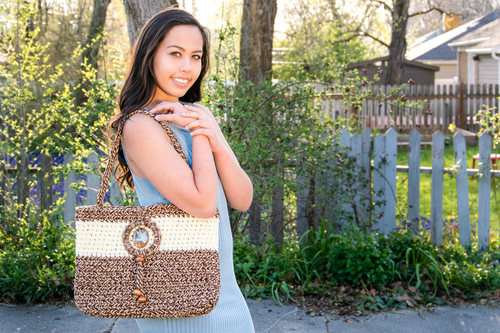 Driftwood Pale Yellow Rope Tote - A Boutique Martí Exclusive (paired with our Sleeveless Dusty Blue Maxi Dress).