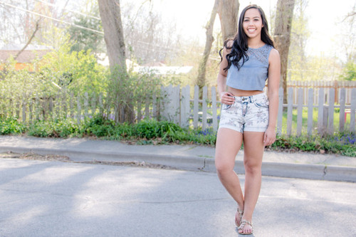 Dusty Blue Suede Crop Top (paired with our Floral Light Wash Shorts)