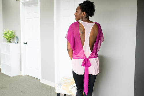 Pinks and Gems Sheer Layered Top (paired with our Pixelated Side Leggings)